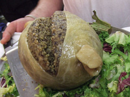 Haggis stuffed in a sheep's stomach.
